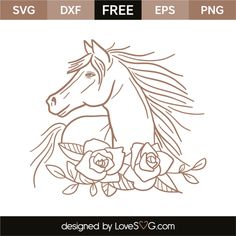 *** FREE SVG CUT FILE for Cricut, Silhouette and more *** Horse and flowers