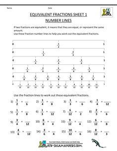 equivalent fractions worksheet 1 number lines