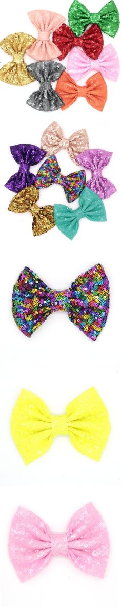"""60pcs/lot 32 colors Free Epacket/CPAP 5"""" Big Sequin Messy Bow without clips, For you DIY Baby Jersey Headband, Hair Flower"""