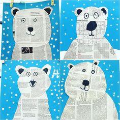 Wir sind voll drin im Thema Eisbären und machen im Kunstunterricht gefühlt nix We are fully in the subject of polar bears and make felt in art lessons nothing Animal Crafts For Kids, Winter Crafts For Kids, Art For Kids, Winter Kids, Kindergarten Art, Preschool, Winter Art Projects, Bear Crafts, Winter Activities