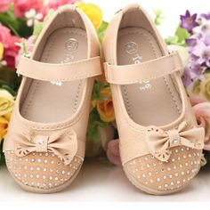 Cream Leather Beaded Flower Pageant Girl Girls Party Dress Shoes SKU-133407