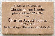 Gedenkplaat van Christiane Vulpius en haar oudere broer Christian Vulpius in de Luthergsse 5 in Weimar.