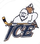 Edmonton Ice Primary Logo (1997) - A Yeti with a hockey stick in front of mountain above team name
