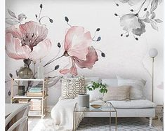 Watercolor Pink Flowers Floral Wallpaper, Handpainted Beautiful Big Rose Wall Murals Wall Decor for Living or Dinning Room - Dining Room Wall Painting Living Room, Living Room Bedroom, Custom Wallpaper, Wall Wallpaper, Colorful Wallpaper, Wallpaper Designs, Custom Wall Murals, Rose Wall, Smooth Walls