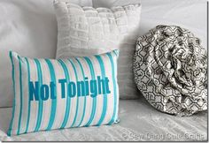 """Not Tonight"" Pillow {White Elephant Gift}"