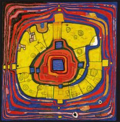 Paintings - Hundertwasser LE PETIT CHEMIN 1991 kAURILMI Klimt and Schiele had a predilection for square proportions. As a pendant to 224 The Big Way, an imagined return to one's old home: all ways, all turns, all colours are familiar. Friedensreich Hundertwasser, Museum Of Fine Arts, Museum Of Modern Art, Gustav Klimt, Kunsthistorisches Museum, Art Calendar, Art Brut, Paul Klee, Exhibition Poster