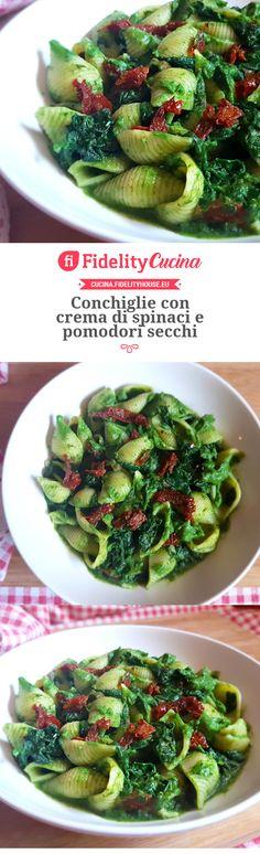 Conchiglie con crema di spinaci e pomodori secchi