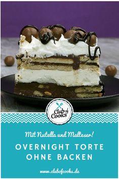 Diese leckere Torte kommt ganz ohne Backen aus und ist nach einer Nacht im Kühlschrank servierbereit! Sie beinhaltet leckere Malteser, knusprige Schokolade, Vanillepudding und Nutella. Das macht sie nicht nur lecker schokoladig, sondern gibt ihr auch eine knusprig -cremige Konsistenz!