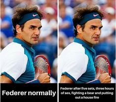 Too funny!  #rogerfederer #federer #tennis #tennishumor #humor Tennis Humor, Tennis Funny, Roger Federer, A Funny, Baseball Cards, Sports, Hs Sports, Sport