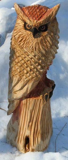 Carved wooden owl. by Dean Fox: