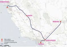 Possible Hyperloop route connecting Los Angeles, Las Vegas and San Francisco