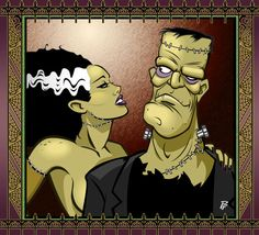 Frankenstein and His Bride by PatrickFinch on DeviantArt Horror Art, Horror Movies, Frankenstein's Monster, Monster Squad, Bride Of Frankenstein, Classic Monsters, Psychobilly, Dark Art, Fantasy Art