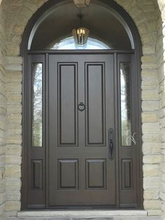 Gorgeous with Gunstock stain; Seedy glass in sidelight; Dual Clear glass in transom; Call or come into Amberwood's outstanding this for your beautiful proudly ships today for shipping details! Wooden Main Door Design, Front Door Design, Door Redo, Hacienda Style Homes, Entry Door With Sidelights, Entryway Flooring, Double Front Doors, House Front Door, Single Doors