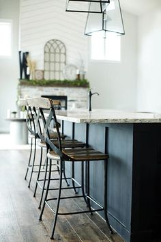 Custom Built Modern Farmhouse Home Tour with Household No 6   Rustic industrial wood metal bar stools at black kitchen island
