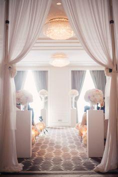 soft pink and white ballroom ceremony Chic Wedding, Elegant Wedding, Wedding Styles, Dream Wedding, Wedding Decor, Hotel Wedding Venues, Wedding Ceremony, Wedding Events, Reception