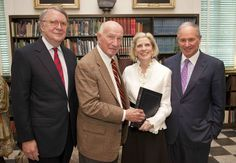 Steven Gates (Charleston Library Society President); Dick Jenrette; Anne Cleveland (CLS Executive Director); Stephen Schwarzman (Chairman, CEO Blackstone Group) honoring Dick Jenrette for the Inaugural Founders Award (April 2014).