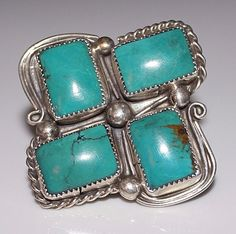 HUGE Signed Navajo Indian Turquoise Ring, Size 9, Sterling Silver, Chavez