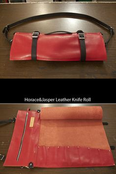 This is the newest leather knife roll to come out of the studio. So red. So soft. So very sexy. Leather Key Holder, Leather Roll, Leather Craft, Leather Bag, Drum Stick Bag, Tool Roll, Knife Holder, Case Knives, Chef Knife