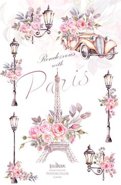 Paris Watercolor Clipart France Eiffel tower France Roses flowers floral parts lantern retro automotive classic romantic french type Watercolor Clipart, Watercolor Flowers, Watercolor Art, Decoupage Vintage, Decoupage Paper, Trendy Wallpaper, Cute Wallpapers, Fashion Wallpaper, Thema Paris