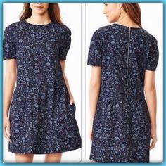 NWT GAP FLORAL DROP WAIST DRESS NWT GAP BLUE FLORAL DROP WAIST DRESS, pockets, exposed back zip, slight puff sleeve, round neckline, ruffled trim & shirring at drop waist, relaxed through shoulders, chest & hips. Slightly cinched at drop waist. Hits above knee.  100% cotton machine wash. This is a special dress and bought too big. So bummed since now it's sold out can't get a smaller size. Oh well a lucky Posher can enjoy GAP Dresses
