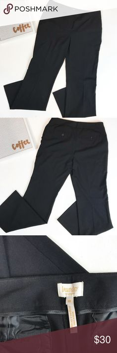 Laundry by Shelli Segal black dress pants size 8 Laundry by Shelli Segal black dress pants size 8. Unlined, front and back pockets. Waist 16, rise 9, inseam 32. These Shelly Segal Laundry black dress pants are the perfect go to pant for work! Laundry By Shelli Segal Pants Trousers