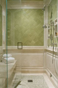 Love the classic look of this handmade tile and stone in this shower. #DesignPinThurs #TileSensations