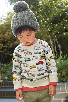 Buy Ecru Car Printed Crew Neck Sweat (3mths-6yrs) from the Next UK online shop