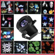 12 Patterns Christmas Laser Snowflake Projector Outdoor LED Waterproof DJ Disco Lights Home Garden Star Light Indoor Decoration