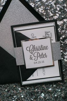 Fabulous Black and Silver Glitter Modern Wedding Invitations. CAITLIN Fancy Glitter Collection by Just Invite Me