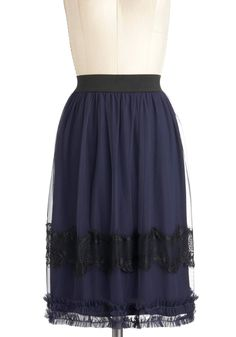 A Midnight's Tale Skirt - Mid-length, Blue, Black, Lace, Work, Party, French / Victorian