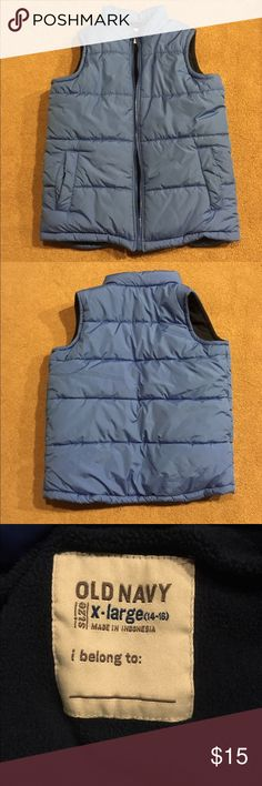 Boys Old navy puffer vest Great condition boys extra-large old navy puffer vest. Perfect for the cold season ahead! Made of 100% polyester, machine wash cold and tumble dry low. Old Navy Jackets & Coats Vests