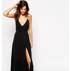 ASOS Satin Split Front Maxi Slip Gorgeous satin black dress, long wrap dress with a very high split. Only worn once, in perfect condition. ASOS Dresses Maxi