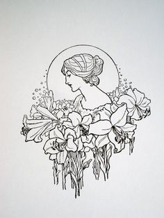 Art Nouveau : Lady with Flower Garland - limited edition screenprint.   NigelDK