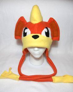 Pokemon Inspired Growlithe Fleece Hat -MADE TO ORDER-