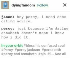 Percy Jackson Head Canon, Percy Jackson Quotes, Percy Jackson Fan Art, Percy Jackson Books, Percy Jackson Fandom, Percy And Annabeth, Annabeth Chase, Solangelo, Percabeth
