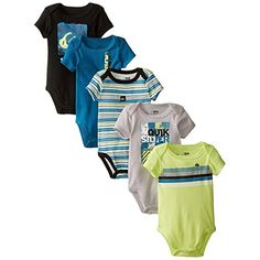 Quiksilver BabyBoys Newborn 5 Pack Bodysuits Black Lime Gray Group Multi 03 Months *** Be sure to check out this awesome product.(It is Amazon affiliate link) #like4like Baby Boy Newborn, Lime, Boy Outfits, Boy Clothing, Clothes, Onesies, Like4like, Bodysuits, Boys