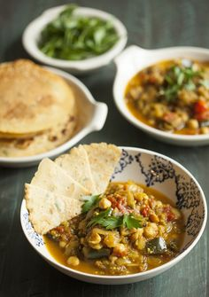 Eggplant, Tomato, and Chickpea Curry with Chickpea Rice Flatbread