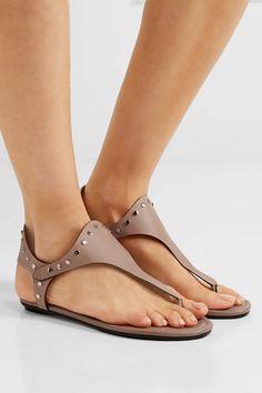 Jimmy Choo - Dara Studded Leather Sandals - Neutral - IT39.5