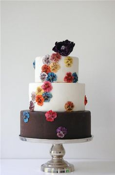 Cake by Maggie Austin Cakes on The Brides Cafe Would adore this if the top tier's fondant was a powder blue and the flowers were gears and roses