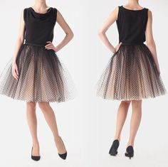 Color: this tulle skirt is made by 1 layer black polka dots tulle and 3layers champagne tulle. If you need other colors, please contact us first,my email address is:hangoodluck@hotmail.com Size: Will be done according to the measurements you provide, therefore please provide us with (you will need a measuring tape): Natural waist circumference: Please measure the smallest part of your waist, around 1 inch above belly button Hip: Please measure the biggest part of your hip Default features…