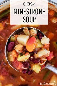 Italian Soup Recipes, Best Soup Recipes, Delicious Recipes, Easy Recipes, Dinner Recipes, Hearty Vegetable Soup, Vegetable Soup Recipes, One Pot Meals, Easy Meals