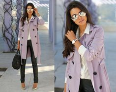 Armani Exchange  Watch, Nasty Gal Trench Coat, Alexander Wang Bag, Bcbg Pants, Alice + Olivia Heels... Lavender trench? so fly