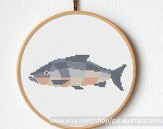 Fish cross stitch pattern, Samon cross stitch PDF - Gift for fisherman hunter - cross stitch animal pattern Cross stitch pattern modern Sea