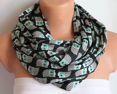 Owl Scarf Infinity Scarf Loop Scarf Circle Scarf Cowl Scarf Soft and Lightweight Zigzag