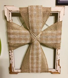 Burlap Cross Picture Frame, Distressed Picture Frame Cross