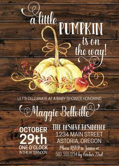 Little Pumpkin Baby Shower Invitation Fall Baby Shower Invite