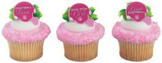 12-PINK-FOOTBALL-girl-party-RINGS-favors-CUPCAKE-diva-POWDER-PUFF-football-CHEER