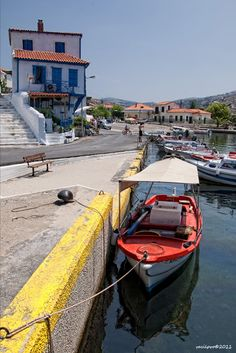 This photo from Lesvos, North Aegean is titled 'A tiny island'. Greek Islands, Greece, Europe, Boat, Countries, Beautiful, Greek Isles, Greece Country, Dinghy