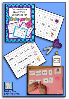 Kindergarten Cut-and-Glue Sentences and a FREEBIE! Scroll to the bottom of the post to download your FREEBIE! These cut-and-glue sight word sentences are great for K or as a review for 1st.