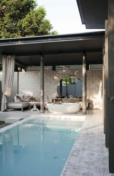 Stunning Small Pool Ideas For Small Backyard. Like patio/outdoor living proximity and shape of pool. Not a fan of this tile or tile with design. Small Swimming Pools, Small Pools, Swimming Pools Backyard, Small Backyards, Pool Landscaping, Villa Design, Design Hotel, Design Design, Design Ideas
